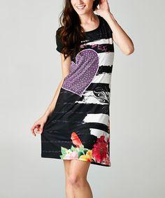 Look what I found on #zulily! Black & White Violet Sparkle Crew Neck Shift Dress #zulilyfinds