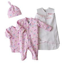 HALO SleepSack Swaddle 4-Piece Take Me Home Set - Pink Cupcake Print (Preemie)