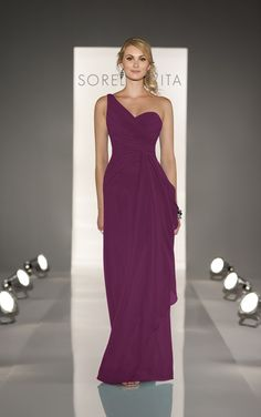 FINAL BRIDESMAID DRESS - Color: Mulberry - One shoulder bridesmaid dresses feature modified A-line gown in Chiffon. Exclusive designer one shoulder bridesmaid dresses by Sorella Vita.