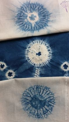 Beautiful circle patterns created with different methods of shibori stitch resist with indigo dye all by Townhill Studio. So much is possible! Join a workshop or follow the blog.