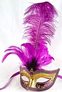 Venetian Masquerade Feather Mask Colombina Ciuffo Sisi Gold/Purple