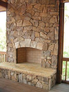 Stone fireplace idea