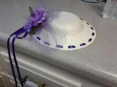 Tea hat made with paper plate and bowl - March is Tea for Two Tuesday. Do a Tea Party with hat crafts. Let the boys imagine a fun driving cap design. Tea Hats, Tea Party Hats, Tea Parties, Crazy Hat Day, Crazy Hats, Paper Plate Hats, Paper Plates, Girls Tea Party, Tea Party Birthday