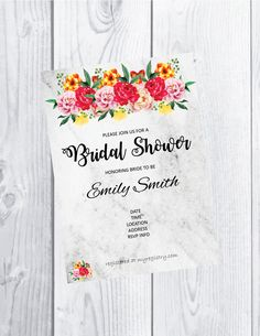 Bridal shower invitation - digital download - customized - marble and flowers 5 x 7