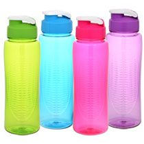 Colorful Plastic Water Bottles with Flip-Top Lids, 24 oz.