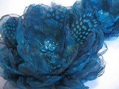 Teal blue fabric flowers set of 2 decorative by PaijasBoutique, $21.00