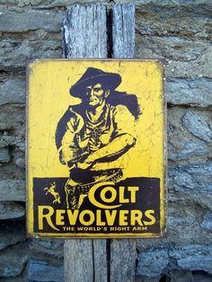 Vintage Antique Style Colt Gun Firearms Metal Sign Ad Logo Retro Wall Decor USA | eBay