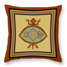 Colorful Southwest, Native American, Mimbres, Tortuga tribal design, printed on 100% cotton throw pillow, or tote bag printed on sturdy, durable poly-poplin material.  This tote bag/Pillow is inspired by ancient Mimbres Indian pottery designs.  Very colorful, decorative tribal, folk art design.    Southwest Mimbres Indian turtle design - Choose same design printed on tote bag, or Throw pillow. Please see choices above.  Great bags for groceries, diaper bags, book bags, laptop bags, exercise…