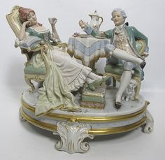 HUGE Royal Dux Bohemia Afternoon Tea Antique Porcelain Centerpiece Figurine yqz