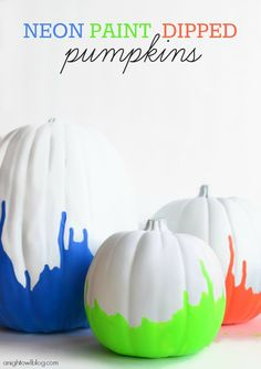 These unique and colorful gourds make fun fall decor accents! Your kids are going to love these kid-friendly Neon Paint Dipped Pumpkins that are easy to make. Diy Halloween, Halloween Crafts For Kids, Holidays Halloween, Halloween Pumpkins, Holiday Crafts, Holiday Fun, Halloween Decorations, Holiday Ideas, Fall Decorations