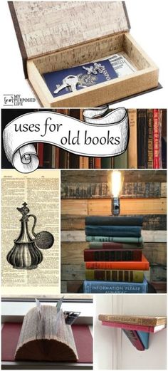 Products and ideas for using old books in decor and repurposing. #spon