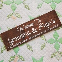 This personalized Grandma and Grandpa sign is a great gift for Grandparents to display proudly in their home. What a fun pregnancy reveal this would be! This custom sign can be created with any terms of endearment that your kids use for their Grandparents: Mimi, Papa, Gramma, Nana, etc. ________________________________________________________________________ CUSTOMER QUOTES Love it!Thank you for being so helpful, it came out perfect, gave as a gift for Christmas and it was a huge hit…