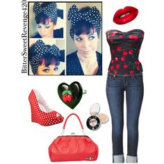 """Rockabilly cherry red"" by bittersweetrevenge420 on Polyvore"