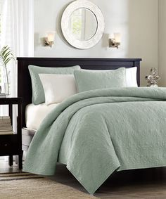 Seafoam Damask Coverlet