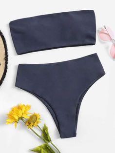 ea13795a6c Shein Bandeau With High Waist Bikini Set