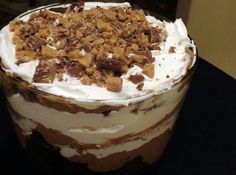 Heath Bar Trifle  1 Devil's Food Cake either from mix or scratch, baked according to package directions, cooled, and cut into small cubes 2 pkgs. instant chocolate pudding mix, prepared 1 jar carmel topping 1 18 oz. Cool Whip topping 1 pkg. English Toffee Bits or heath Bar candies finely chopped  In trifle bowl or other clear bowl, layer half of each ingredient; repeat. Chill for several hours and serve in festive glasses or bowls. Refreshing and yummy!