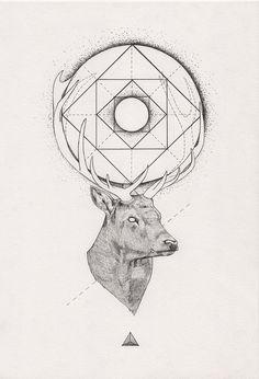 Tattoo Inspiration - (Geometric) Stag. A Peter Carrington illustration. #Art #Deer