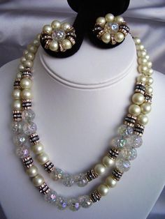 Vintage HOBE Necklace & Earrings - 2 Strand Art Glass Beads, Faux Pearls