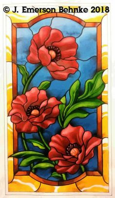 Glass Painting Patterns, Stained Glass Patterns Free, Glass Painting Designs, Stained Glass Designs, Stained Glass Projects, Paint Designs, Stained Glass Paint, Stained Glass Flowers, Stained Glass Panels