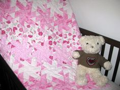 Lady Bugs in Pink - A handmade baby quilt for sale $130.00