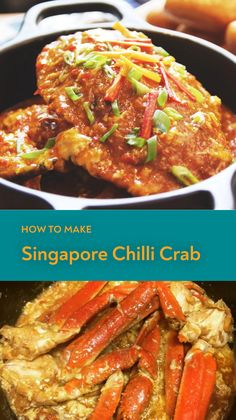The best chilli crabs with thick savoury sauce just like those served at hawker stalls in Singapore is rather easy to prepare at home. This flavourful dish is popular to the locals in Malaysia too. Recipe to make buns available too! Prawn Recipes, Seafood Recipes, Asian Recipes, Mexican Food Recipes, Dinner Recipes, Cooking Recipes, Potato Recipes, Singapore Chili Crab Recipe, Chilli Crab Recipe
