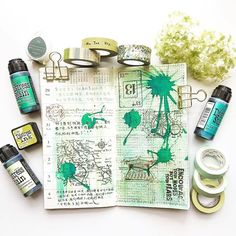 Getting inspired with @sharon_hoh green #mtn spread - definitely a @tim_holtz fan like us with @ranger_ink and @stampersanonymous products heavily featured.  #mtn #travellersnotebook #travelersnotebook #planner #distressink #distressstain #mixedmedia #scrapncrop #snc #stamping #blueprintstamps