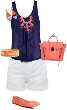 coral and navy summer color scheme  Perfect example of what I want