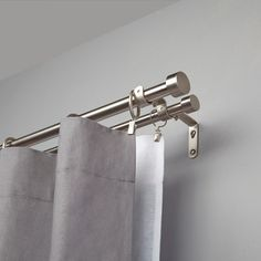 Buy Umbra Adjustable Double Curtain Pole Kit, Nickel, from our Ready Made Curtain Poles range at John Lewis & Partners. Curtain Rails, Double Rod Curtains, Curtains With Rings, Blackout Curtains, Home Curtains, Rustic Curtains, Hanging Curtains, Panel Curtains, Curtains For Bifold Doors