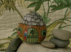 painted rock,painted stone,gnome house,rock house,stone house,fairy door,gnome hut,garden decor,fairy garden,gnome family,garden gnome,gnome by NightOwlFineArt on Etsy