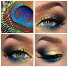 Peacock look. Gold, brown and blue. Eyeshadow. Makeup look.