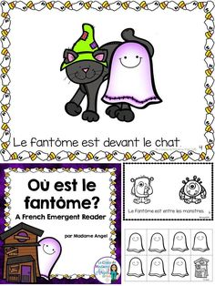 L'Halloween - Emergent reader in French featuring prepositions! Fun practice and engaging, interactive cut and paste reader. Theme Halloween, Halloween Activities, French Teaching Resources, Teaching French, How To Speak French, Learn French, Halloween Vocabulary, French Education, Core French