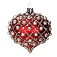 Red w Pearl Harlequin Glass Christmas Ornament by Mark Roberts