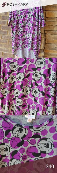 NWOT Lularoe Irma Minnie Mouse Super cute brand new never wore or washed Irma by Lularoe Minnie Mouse pattern. Check out my leggings to match an outfit. LuLaRoe Tops