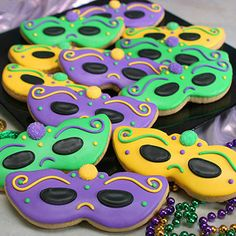 Masquerade Cookies- Madelines future mardi gras themed sweet 16
