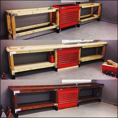 "Harbor Freight Tools on Instagram: ""#ThrowbackThursday - June, 2015, @cap2529 posted his custom-built workbench, incorporating a US★General PRO 44"" 13-Drawer Roller Cabinet…"""