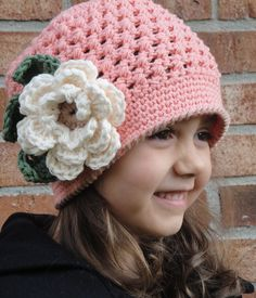 "5T to Preteen Girls Crochet Hat with flower, ""Peaches"". $26.00, via Etsy."