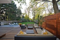 Huge deck with timber privacy screen.