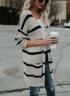 Easy Fashion Medium And Long Striped Cardigan - Fashion Store Look Fashion, Fashion Outfits, Womens Fashion, Fashion Design, Fall Fashion Trends, Autumn Fashion, Pullover Mode, Winter Stil, Cardigan Fashion