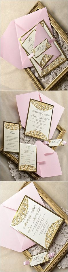 Gold and Pink Glamour Wedding Invitation - Deer Pearl Flowers