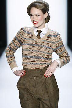 {Lena Hoschek & Schumacher } I'm a bit of a sucker for menswear gone feminine. Moda Fashion, 1940s Fashion, Vintage Fashion, Womens Fashion, Vintage Wardrobe, Vintage Outfits, Tweed Run, Moda Retro, Vintage Mode