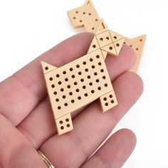 "4 Cross Stitch WOOD BLANK Shapes, DOG 2"" long, make your own embroidery charm pendant, Cho0221"