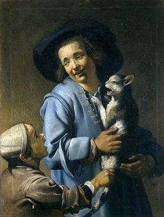 Youths Playing With The Cat  Abraham Bloemaert