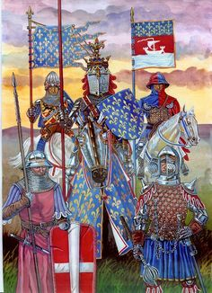 Men at arms under French service during hundreds year war late Medieval Knight, Medieval Armor, Medieval Fantasy, European History, Art History, Military Art, Military History, Celtic Warriors, Knight Armor