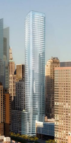 50 West Street Tower, New York City designed by Jahn Architects :: 64 floors,  height 237m :: under construction