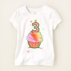 baby girl - graphic tees - third birthday graphic tee | Children's Clothing | Kids Clothes | The Children's Place