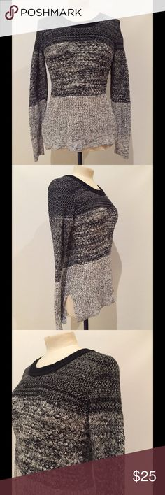 """Banana Republic sweater Cotton, nylon and viscose Banana Republic sweater. Grey, black and white, thicker sweater. 25 1/2"""" in length. Love this sweater, great fit to it. Excellent condition. Banana Republic Sweaters"""