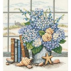 Dimensions Hydrangeas And Shells Cross Stitch Kit | Overstock.com Shopping - Big Discounts on Dimensions Cross Stitch Kits