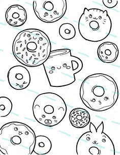 printable donut coloring page color your own stickers design its raining doughnuts and coffee