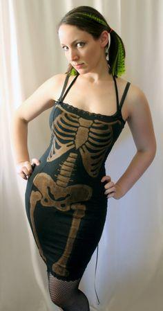 bleached skeleton corset wiggle dress - DANSE MACABRE - custom punk smarmyclothes halloween