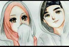 Saya sayang awak abgsah - Cartoon Videos Kids For 2019 Cute Muslim Couples, Cute Couples, Couple Cartoon, Girl Cartoon, Hijab Drawing, Islamic Cartoon, Anime Muslim, Hijab Cartoon, Cute Couple Art